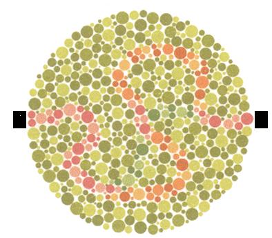 Plate 23 ตาปกติจะสามารถลากเส้นตามสีม่วง ต่อกับสีส้ม จาก X ไป X ได้ ตาบอดสีแดง-เขียวจะลากเส้นตามสีม่วง  ต่อกับสีฟ้า-เขียว จาก X ไป X ได้